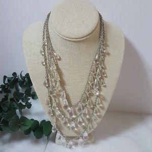Crystal Teardrop Multi Strand Necklace